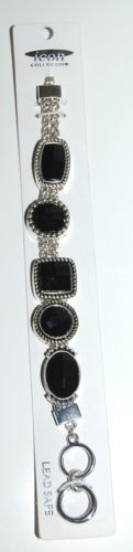 Icon Collection Silver Color  Bracelet Toggle Clasp Lead Safe Black Plastic Gems