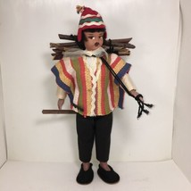 Handcrafted Argentina Doll Man Wearing Serape Gathering Wood - $45.00