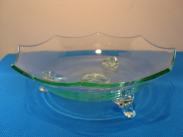 Blue,green three piece mold footed glass candy dish. - $25.00