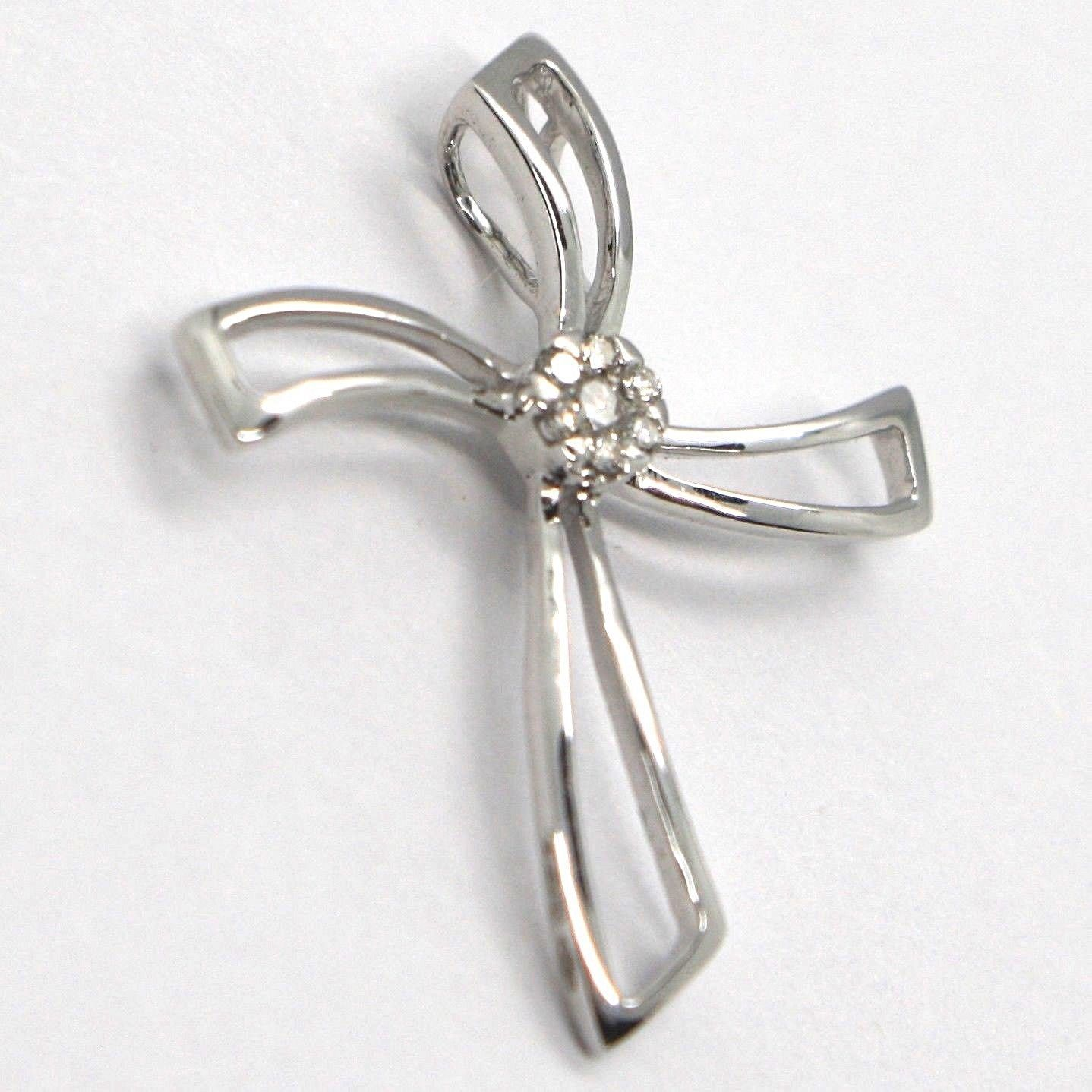 CROSS PENDANT WHITE GOLD 750 18K, DIAMONDS, FLOWER, UNDULATED, MADE IN ITALY