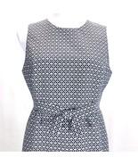 Talbots Sleeveless Sheath Dress Womans 12P Front Bow Blue White Geometri... - $67.68
