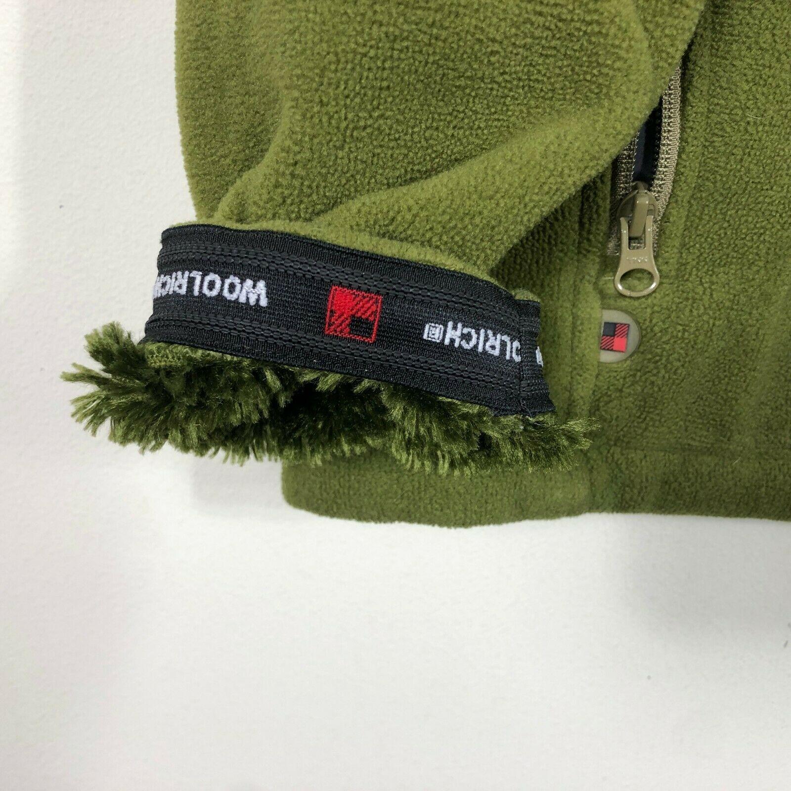 WoolRich Pile Fleece Jacket 1/2 Zip Men's M Green Long Sleeve Faux Fur Lined image 5