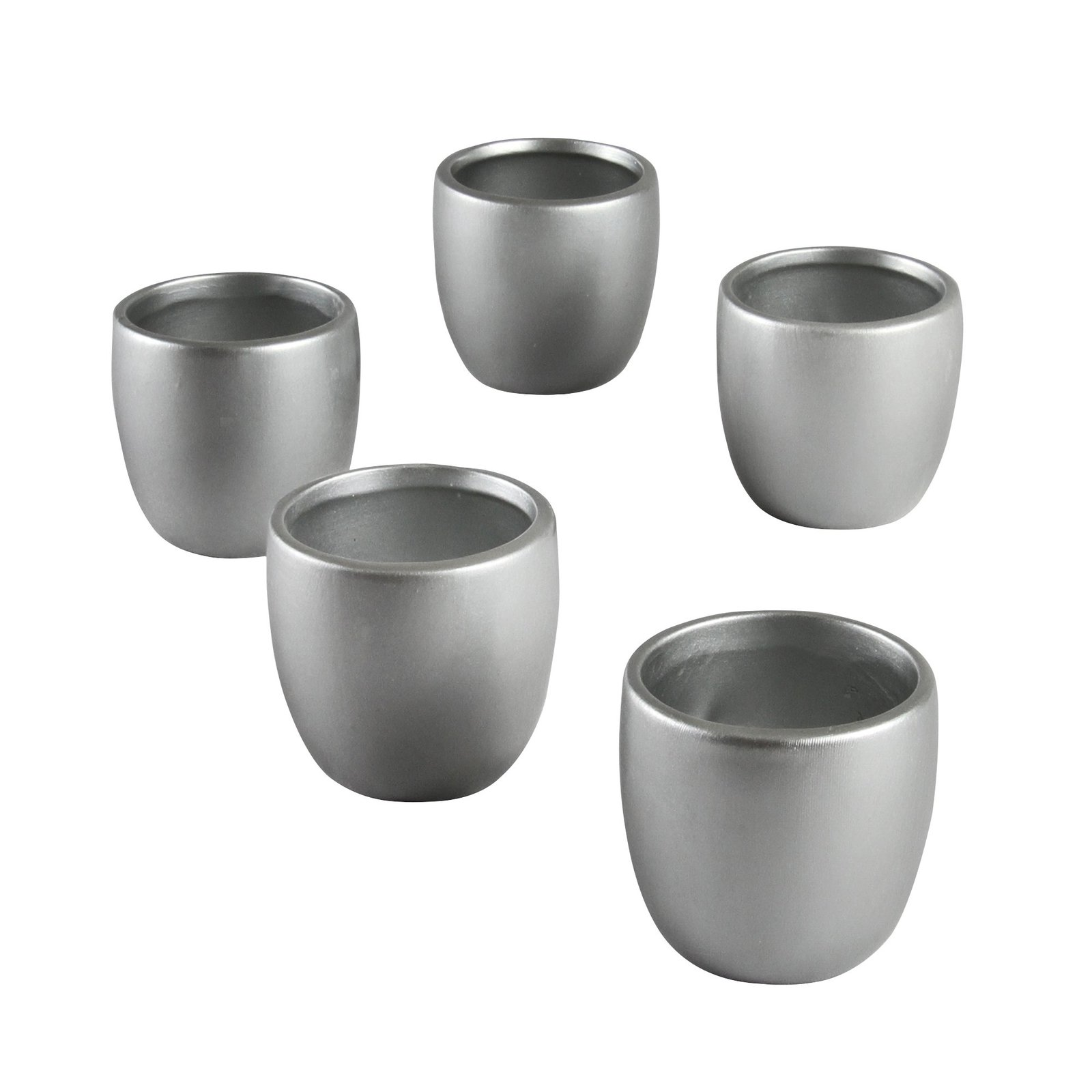 Ivy Lane Design Smooth Round Favor Flower Pot, Silver, Set of 5