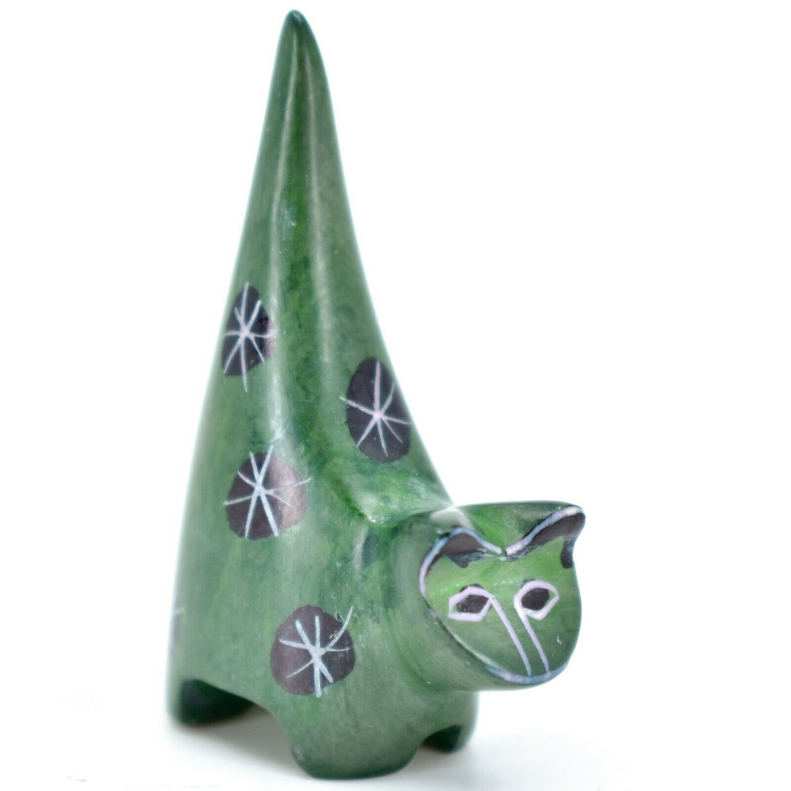 Vaneal Group Hand Crafted Carved Soapstone Tiny Miniature Green Cat Figurine