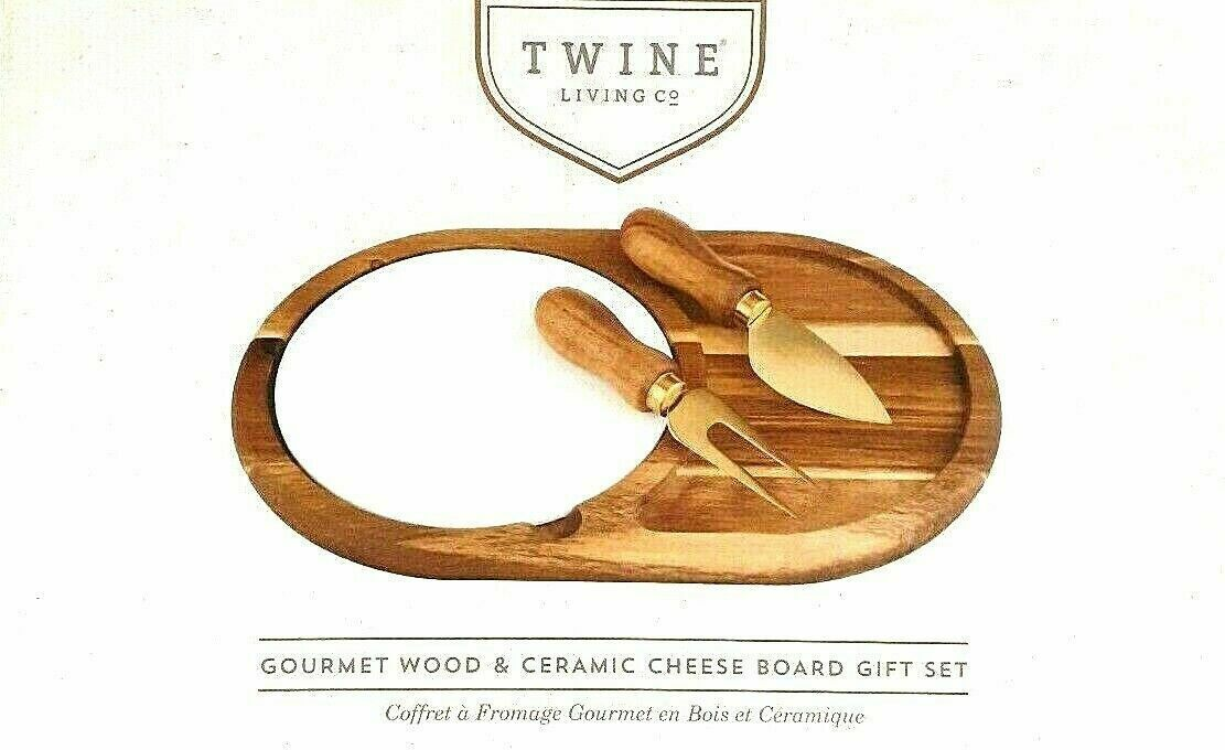 Twine Living Wood & Ceramic Cheese Board Gift Set Gourmet cheese board NEW