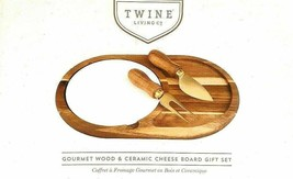 Twine Living Wood & Ceramic Cheese Board Gift Set Gourmet cheese board NEW image 1