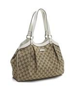 Gucci Handbag Original GG Canvas Beige Ebony White Leather Trim Tote - $1,950.00