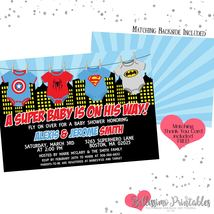 Superhero baby onesie shirts Baby Shower Invitation PRINTABLE FREE thank... - £8.63 GBP