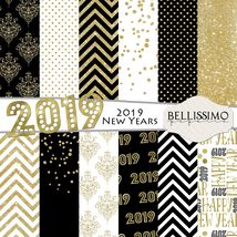 """2019 New Years Digital Paper Black & Gold 12""""x12"""" INSTANT DOWNLOAD - $3.50"""