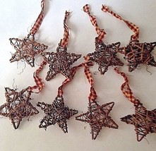 "Set of 8 Grape Vine Star Ornaments 4"" With Homespun Hanger FARMHOUSE PAT... - $12.19"