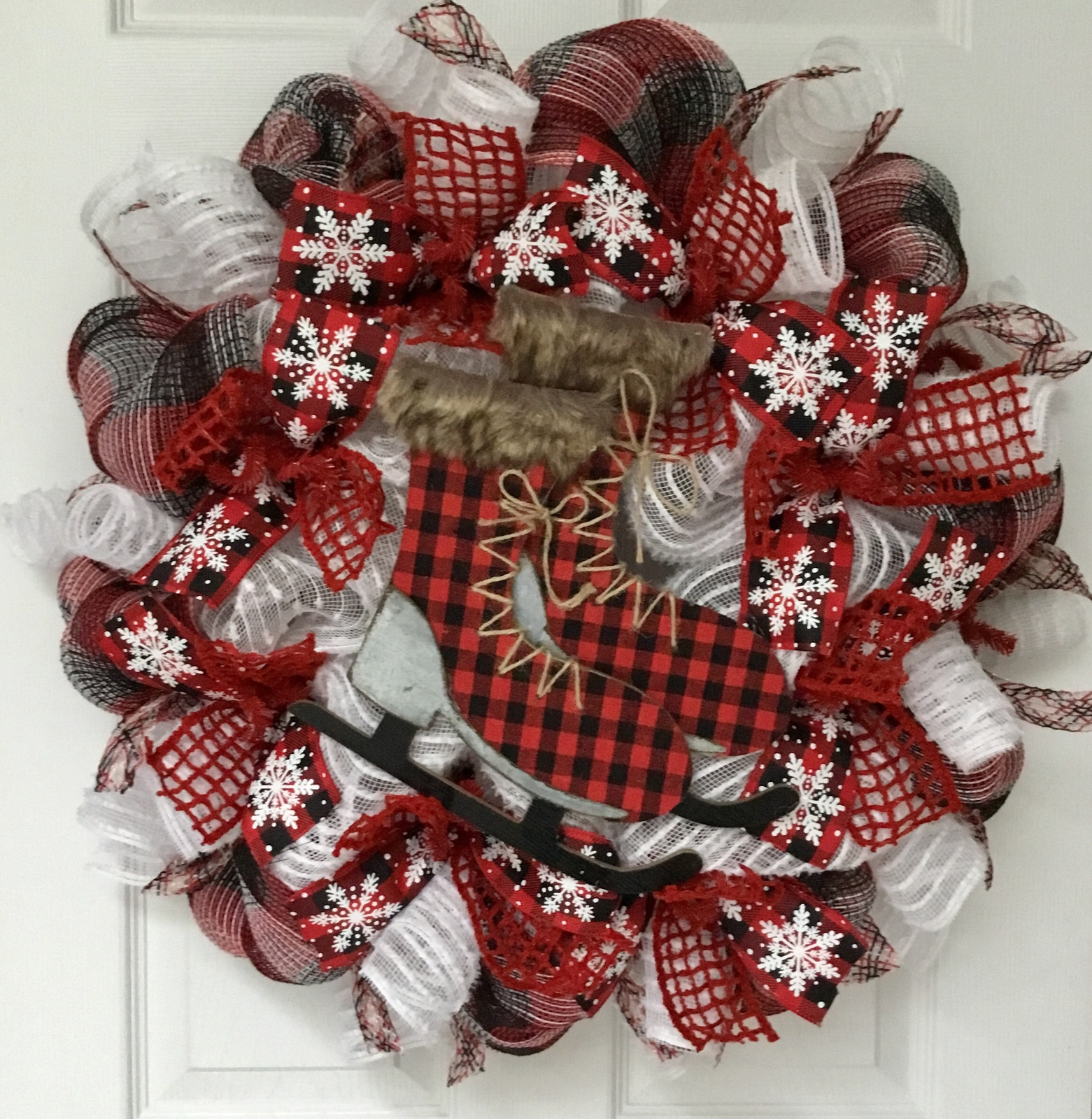 Primary image for Winter Wreath Buffalo Check Ice Skates Handmade Deco Mesh