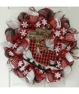 Winter Wreath Buffalo Check Ice Skates Handmade Deco Mesh - $94.99