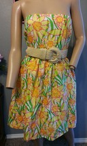 Lilly Pulitzer Daffies Floral Wyatt Straw Belted Strapless Dress 0 XS - $94.99