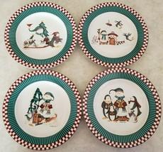 """Christmas Dessert / Salad Plates """"Winter Follies"""" Debbie Mumm Sakura 1998 - $28.04"""