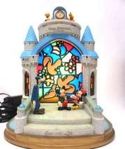 Disney Cinderella Castle Stained Glass Clock Light Sleeping Beauty Castl... - $341.55