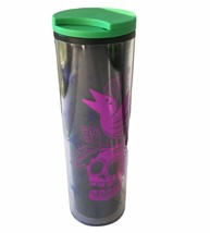 Starbucks Halloween Skull Crow Acrylic Tumbler 16oz Black Purple Green Lid - $37.39