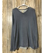 Ruff Hewn Sweater V-Neck Pullover Blueish Gray Textured Sweater Mens M - $15.83