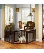 "24"" Configurable Folding 3 Panel Wood Dog Fence - Color: Cherry - $121.86"