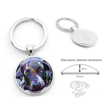 DOGGY FACE CABOCHON KEYCHAIN    # 9759  COMBINED SHIPPING - $4.75