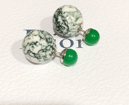 Authentic Christian Dior LIMITED EDITION GREEN MARBLE Tribal Pearl Earrings RARE