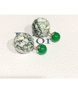 Authentic Christian Dior LIMITED EDITION GREEN MARBLE Tribal Pearl Earri... - $319.99