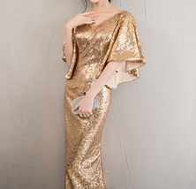Sexy Golden Bat Sleeve Maxi Long Sequin Dresses Fitted Sequined Cocktail Dress image 8