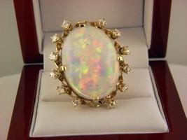 14k or Jaune 16 CT Australien Précieux & Opale Diamants Déclaration Bagu... - $5,791.85