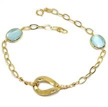 Bracelet Yellow Gold 18K 750, Zircon Blue, Central Oval Wavy, 18.5 CM image 1