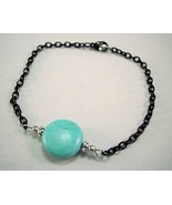 Round Stone Stainless Steel Anklet Blue and Black - $23.00