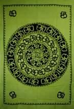 Green Om Shanti Mandala Art Handloom Style Tapestry - $29.99