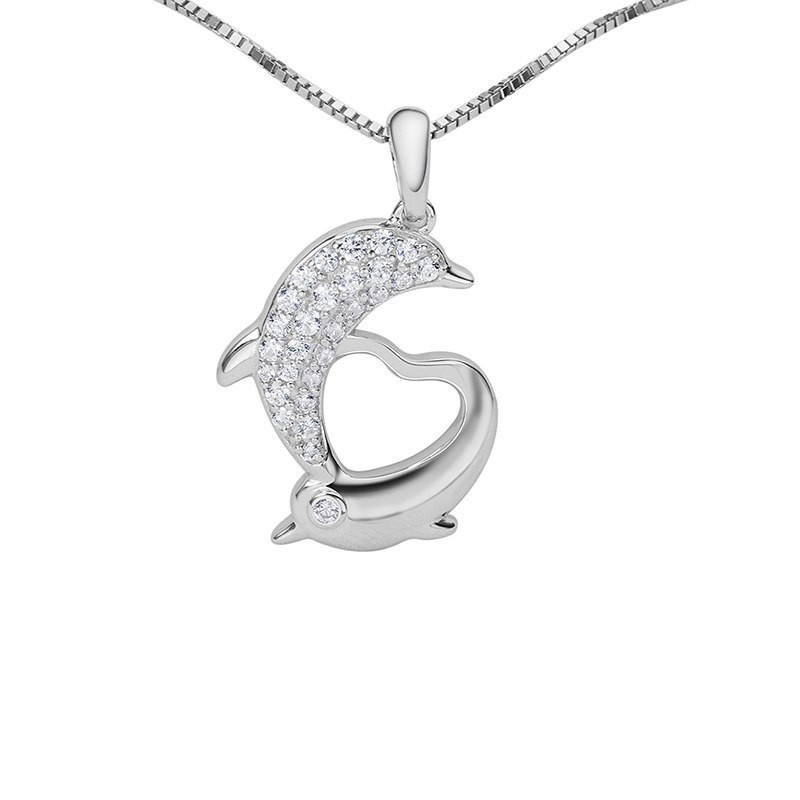 925 Sterling Silver Dolphin Heart Shaped Women Necklace Pendants image 1