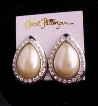 LARGE earrings - Carol Patterson - huge pearl rhinestone clip ons - Wome... - $45.00