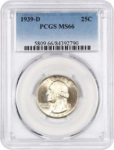 1939-D 25c PCGS MS66 - Washington Quarter - $169.75