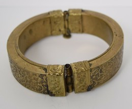 Brass Floral Bangle Hinged Bracelet Large Embossed Flower Vintage - $29.70