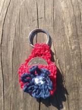 Red QUARTER KEEPER Key Chain Fob Aldi Cart Helper Cozy Tiny Purse Blue F... - $3.96