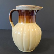 "Vintage Brown Tan Drip Stoneware MCM Pitcher 6 7/8"" tall Heavy - $13.63"
