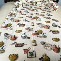 Kitchen Fabric Vintage 1950s 36 Inches Wide 5.5 Yards Jugs Pottery Roosters - $89.09