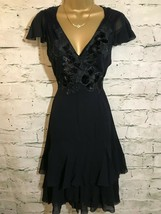 DKNY Donna Karan Ladies Navy Silk Black Velvet Applique Dress US 2 UK 6 - $90.43