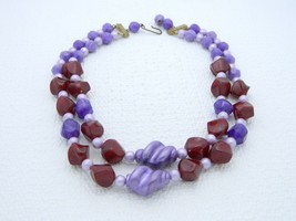 VTG Plastic Celluloid Purple Maroon Beaded Dual Strand Choker Necklace Unsigned - $19.80