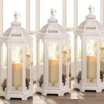 """Lot 6 Large 25"""" Tall Rustic White Chic Lantern Candle holder Centerpieces  - $252.45"""