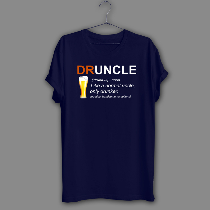 Inspired Druncle Beer Black T-Shirt Like A Normal Uncle Navy Shirt Humor Tee