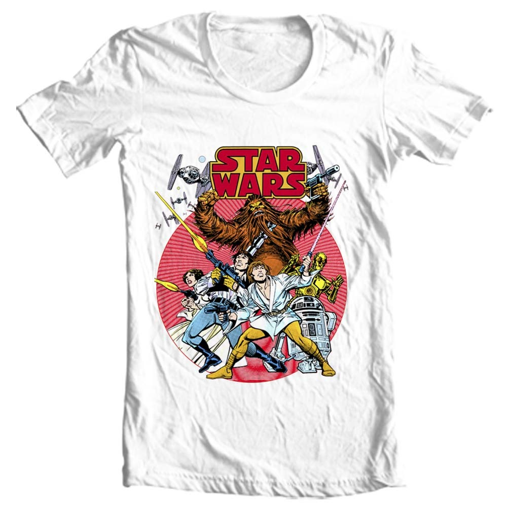 Star Wars retro design t-shirt original comic book 1970's cotton graphic tee