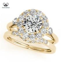 Halo Round Cut Diamond 14k Yellow Gold Plated 925 Silver Women's Bridal Ring Set - $87.99
