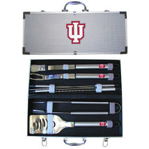 indiana hoosiers 8 pc tailgater stainless steel bbq set with metal case - $126.34