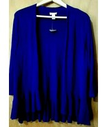 Chico's Women's Open Front Sweater Size 2 Blue Purple 3/4 Sleeve Ruffle - $29.09