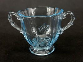 Fostoria Baroque Glass Sugar Bowl, Two-handled, Transparent Blue, Open D... - $14.65
