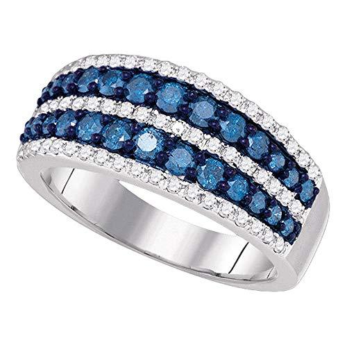 Primary image for TheDiamondDeal 10kt White Gold Womens Round Blue Color Enhanced Diamond Striped