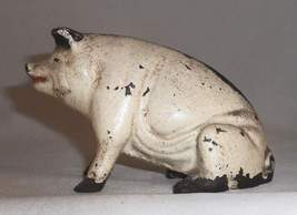 Old Painted Figural Cast Iron Still Penny Bank Pig or Hog Seated on Hind... - $87.00