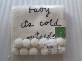 Kate Spade New York Scarf baby it's cold Wool Knit Pom Poms Cream NEW  - $97.02