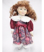 """DanDee Porcelain Doll 13"""" Long Red Hair Green Eyes Old Fashioned Burgund... - $14.84"""